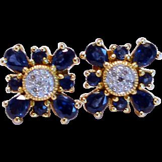 Sapphire & Diamond 14K Gold Earrings
