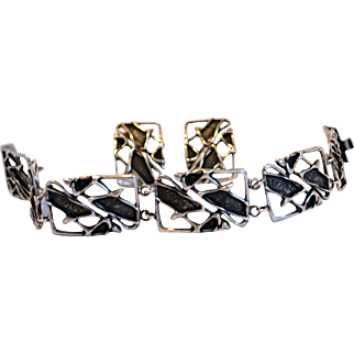 Vintage Mid Century Modern Brutalist Sterling Bracelet & Earrings Polish/Poland Hallmark