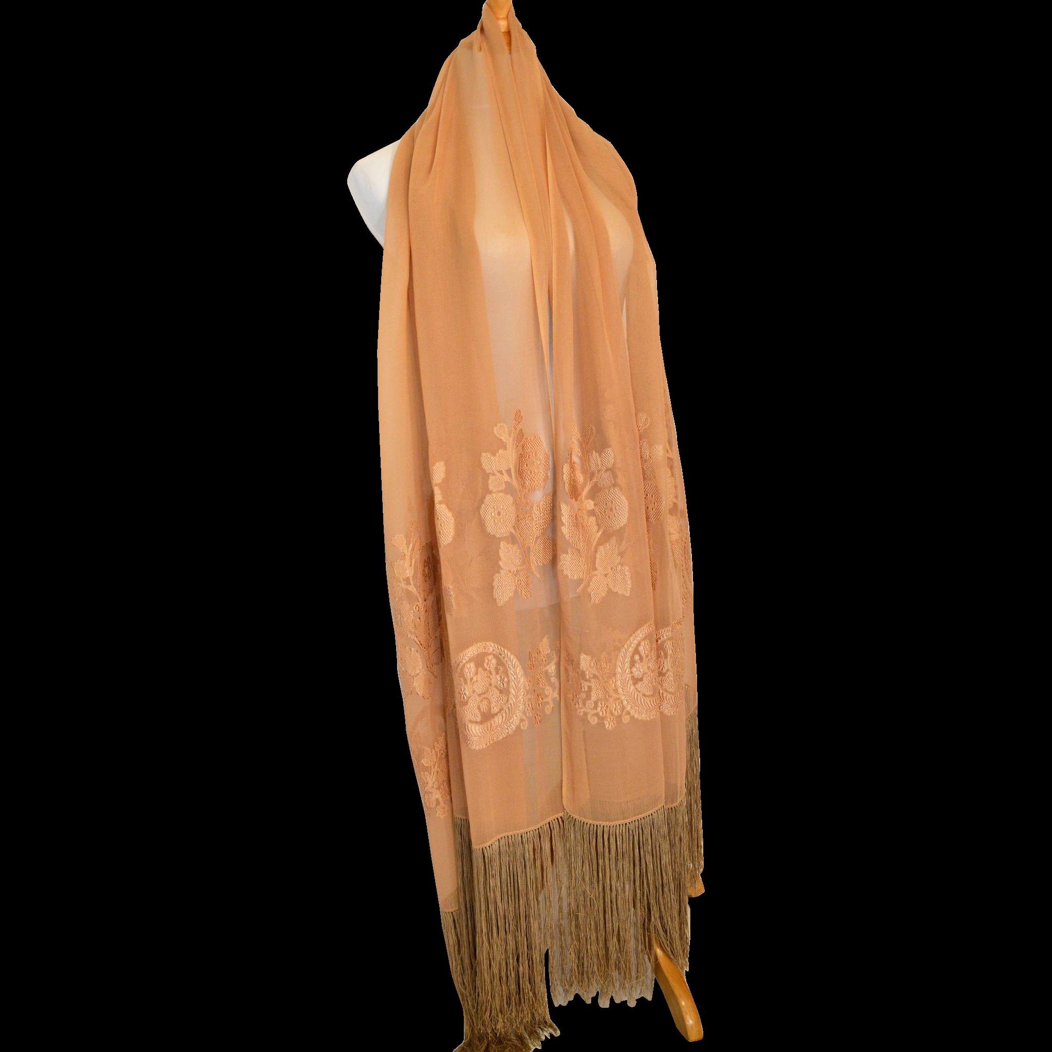 Art deco era large semi sheer silk scarf from jolynn for Art deco era dates
