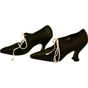 Antique 1920's Black Satin Pumps Shoes Perfect