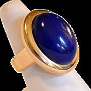 European 14K Gold Large Lapis Ring Size  8 to 8 1/2