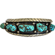 Vintage Pawn Turquoise & Sterling Silver Mary S. Lew Signed Bracelet Cuff Native American Navajo