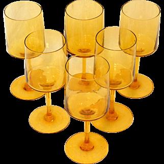 Mid-Century Modern Amber Long Stem Wine Glasses Set of 6