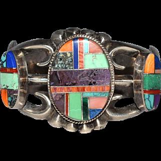 Vintage Sterling Large Inlaid Multi Gemstone Native American Cuff/Bracelet