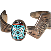 Sterling Native American Inlaid Turquoise Cuff Bracelet Hallmark RMT