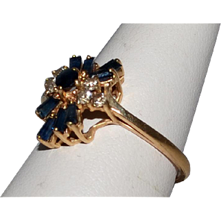 Vintage Sapphire and Diamond Ring 14k Gold  Size 7 1/2 Circa 1960's