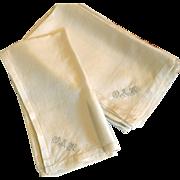 Rare Set of Eight Silk Monogrammed Napkins Circa 1900s