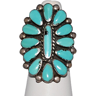 Vintage Pawn Sleeping Turquoise Sterling Silver RIng Size 7 1/2 Native American