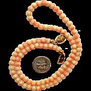 Vintage Natural Angel Skin Coral Necklace