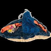 Vintage Blue Velvet Doll Hat Bonnet