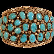 Vintage Native American Indian Navajo Large Cluster Bracelet Turquoise and Sterling Silver