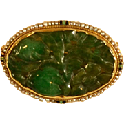 Antique Jade 14K Gold Seed Pearls W. Lampl Pin/Brooch Early 1900's