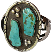 Vintage LARGE Native American Navajo Signed Sterling Turquoise Cuff Bracelet 2 Large Stones