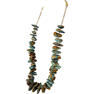 Early Pawn Native American  Pre WW 2 Navajo Large Turquoise Nugget Necklace