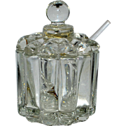 Vintage Tiny Glass Condiment Jar with Original Spoon Possible Salt Cellar.