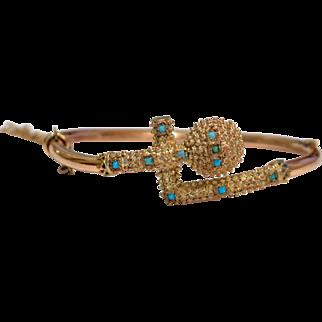 Antique Victorian Egyptian Revival Rose Gold Persian Turquoise Bracelet