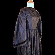 Antique Victorian Civil War Silk Brocade Dress Excellent
