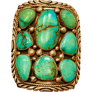 Navajo Ketoh Bow Guard Cuff Large Turquoise Stones Old Pawn Native American
