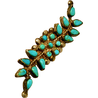 Vintage Pre World War 2 Old Pawn Turquoise & Sterling Pin/ Brooch Native American