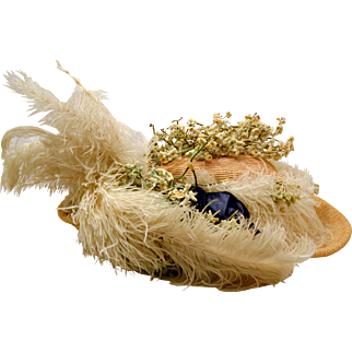Antique Victorian Straw Hat Lavished with Ostrich Feathers and Flowers.