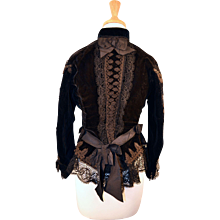 Antique Early  Circa 1860 to 1870  Victorian Silk Velvet Jacket
