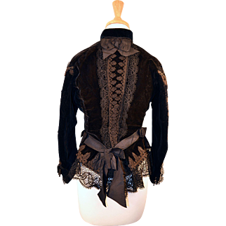 Antique Early  Circa 1860 to 1870  Victorian Silk Velvet Jacket