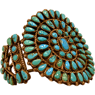 Zuni Turquoise & Sterling Silver Cluster Bracelet Cuff Petit Size