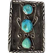 Early Native American Indian Navajo Sterling Silver and Turquoise Pendant Brooch.