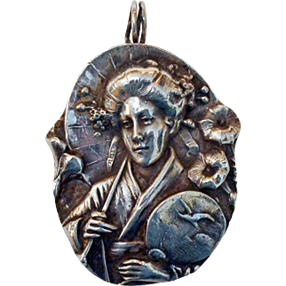 Fine Museum Quality Pure Silver Geisha Pendant by Henryk Winograd. Japan / Japanese / Asian