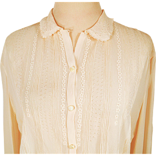 Vintage Fine Italian Silk Semi Sheer Embroidered Blouse