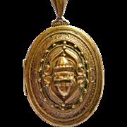 Antique Victorian Large Ornate Brass Locket