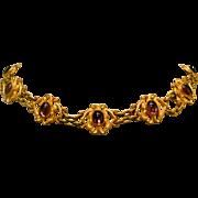 Antique Art Nouveau Necklace/ Choker With Faux Purple Stones Gold Tone Metal - Red Tag Sale Item