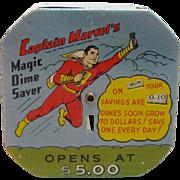 Highly Collectible & Rare Vintage Captain Marvel's Magic Dime Saver Mechanical Bank