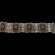 Vintage Sterling Silver Repoussé Panel link Bracelet