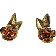 Adorable Vintage Rose Screw Back 14K Gold Filled Earrings