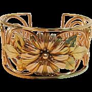 Vintage & Rare Sunflower/Daisy Cuff Bracelet by Krementz