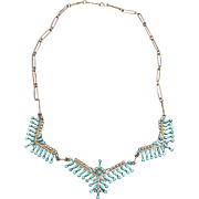 Signed Superb Zuni Petit Point Turquoise Necklace by E/A Seowtewa