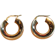 Lovely High Polished Hoop Earrings in 14K Yellow Gold