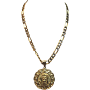Wonderful Religious Pendant With Figaro Chain in 14K Yellow Gold