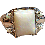 Stunning Vintage Cabochon Opal Ring in 10K White Gold