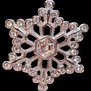 Vintage Crystal Snowflake Brooch By Swarovski