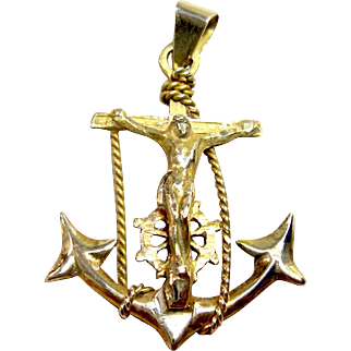 Vintage 14K yellow gold Nautical Mariner's Cross