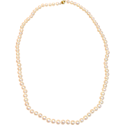 "Timeless Cultured Pearl Necklace 24"" L W/ 14K Yellow Gold Clasp"
