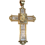 Large Vintage Cross Pendant with Crystals in 10K Yellow Gold