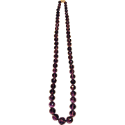 Fine Quality Vintage Graduated Amethyst Necklace With 14K Two Tone Gold & Diamonds