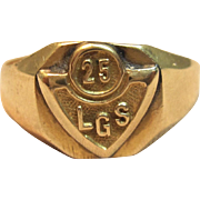 "Vintage ""LGS"" Class Ring in Solid 14K Yellow Gold ""1925"""