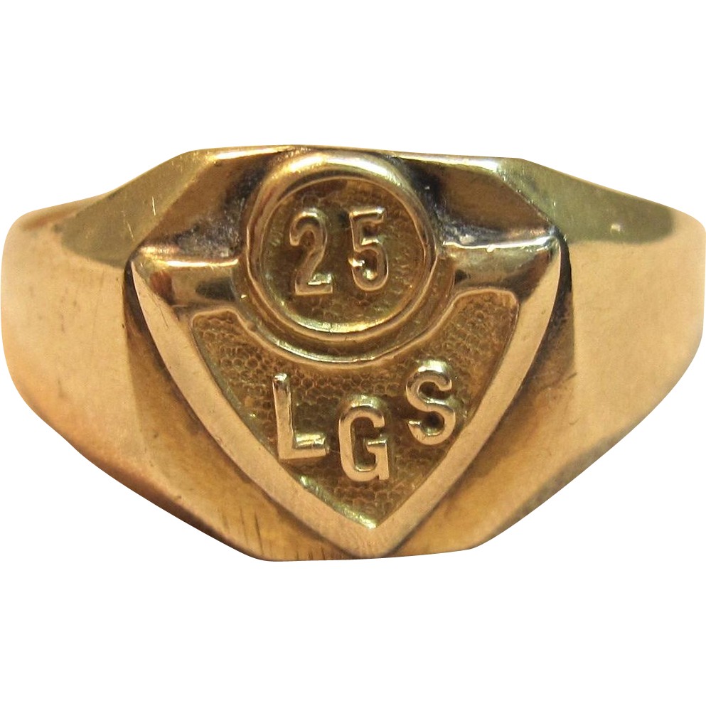 vintage quot lgs quot class ring in solid 14k yellow gold quot 1925