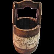 Rare Antique Bone Scrimshaw Bucket/Well