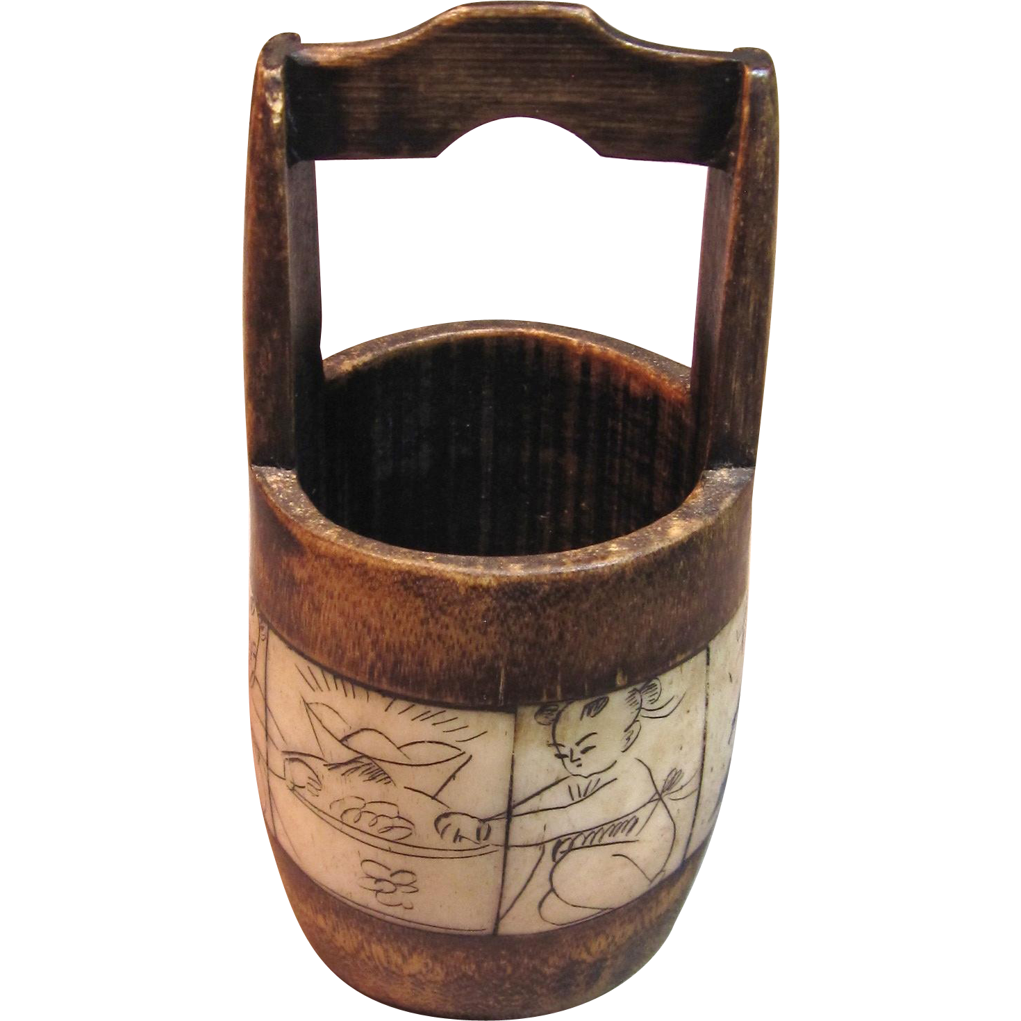 Rare Antique Bone Scrimshaw Bucket Well Cathy S Corner