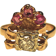Timeless Vintage  Diamond Ring with Pink Sapphires in 14K Rose Gold